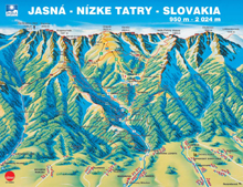Map of ski-park Jasna, Low Tatras, Slovakia